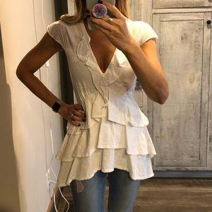 Anthropologie white short sleeve blouse